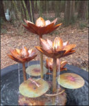 Tiered waterlily copper fountain